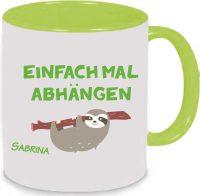 Keramiktasse Tasse Kaffee Tee Becher Faultier chillen Einfach mal abhängen