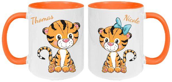 Tassen Twinset orange Tigerpärchen