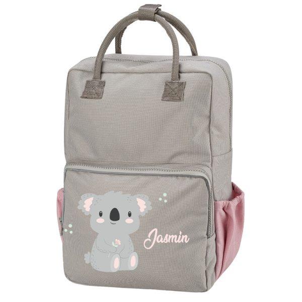 Kinderrucksack Happy Style Teen in Grau Rosa mit Koala