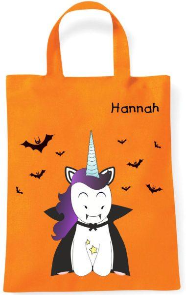 Sammeltasche Stofftasche mit eigenen Namen mini orange Einhorn Fledermaus Vampirhorn