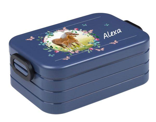 Brotdose Lunchbox Maxi Take A Break midi BENTO Box mit Gabel Pferdewiese mit Schmetterlinge