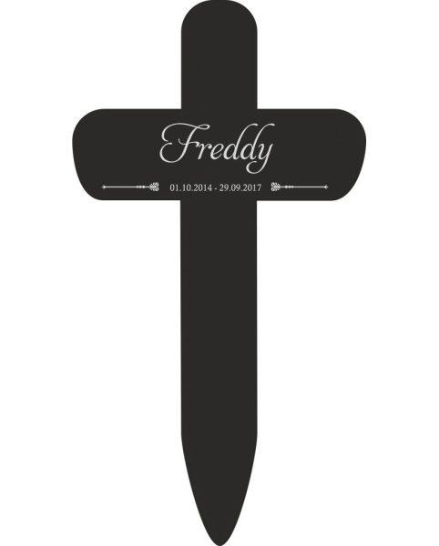 Grabkreuz fürs Tier mit Name und Datum