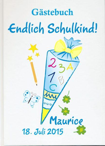 Personalisiertes Gästebuch zur Einschulung Schultüte blau