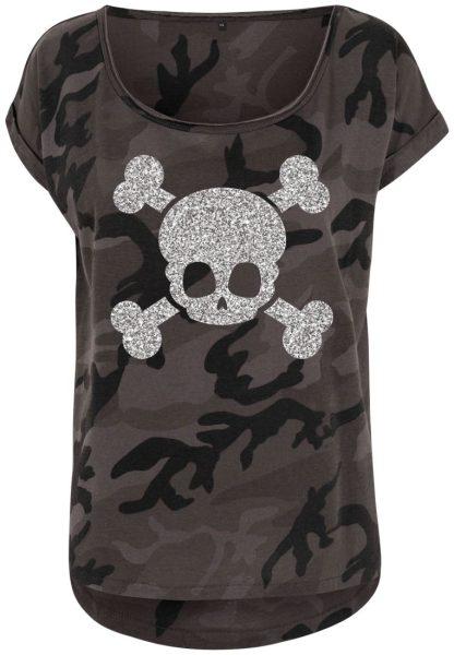eb17525efa2852 Damen Camouflage T-Shirt Glitzer Totenkopf