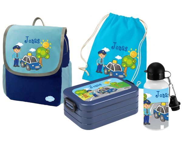 Set 5 Rucksack Happy Knirps NEXT - Brotdose Maxi - Jutebeutel - Trinkflasche Blau Polizei