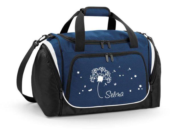 Sporttasche mit Feuchtfach mit Name und Pusteblume