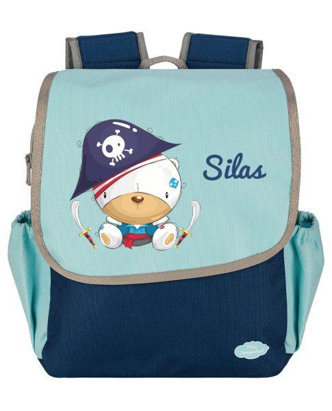 Kindergartenrucksack Happy Knirps NEXT mit Name Blau Piratenbär