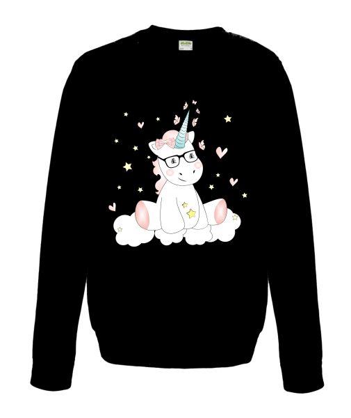 Sweatshirt Shirt Pullover Pulli Unisex Unicorn Einhorn cutie mit Brille