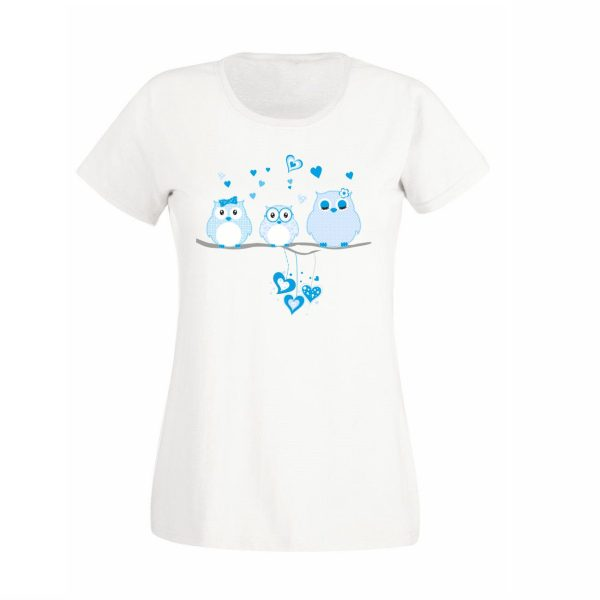 Damen T-Shirt blaue Eulen