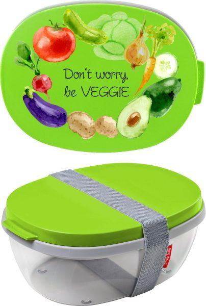 Salatbox Ellipse Lime Don't worry be Veggie