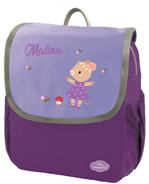 Kindergartenrucksack Happy Knirps NEXT mit Name Lila Maus