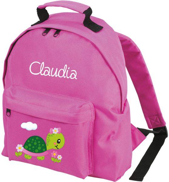 Kinderrucksack Classic Pink mit Name Schildkröte