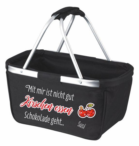 Einkaufskorb Korb schwarz Mit mir ist nicht gut Kirschen essen! Schokolade geht