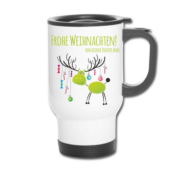 Thermobecher Weihnachten Christmas Xmas Elch grün