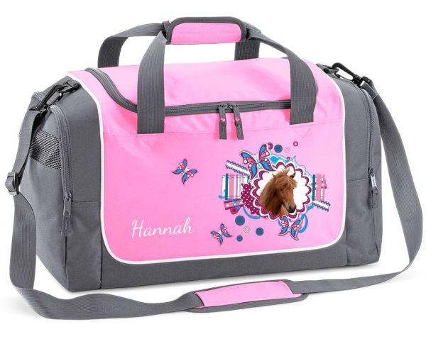 Sporttasche in Rosa mit Name und Pferdekopf mit Schmetterlinge