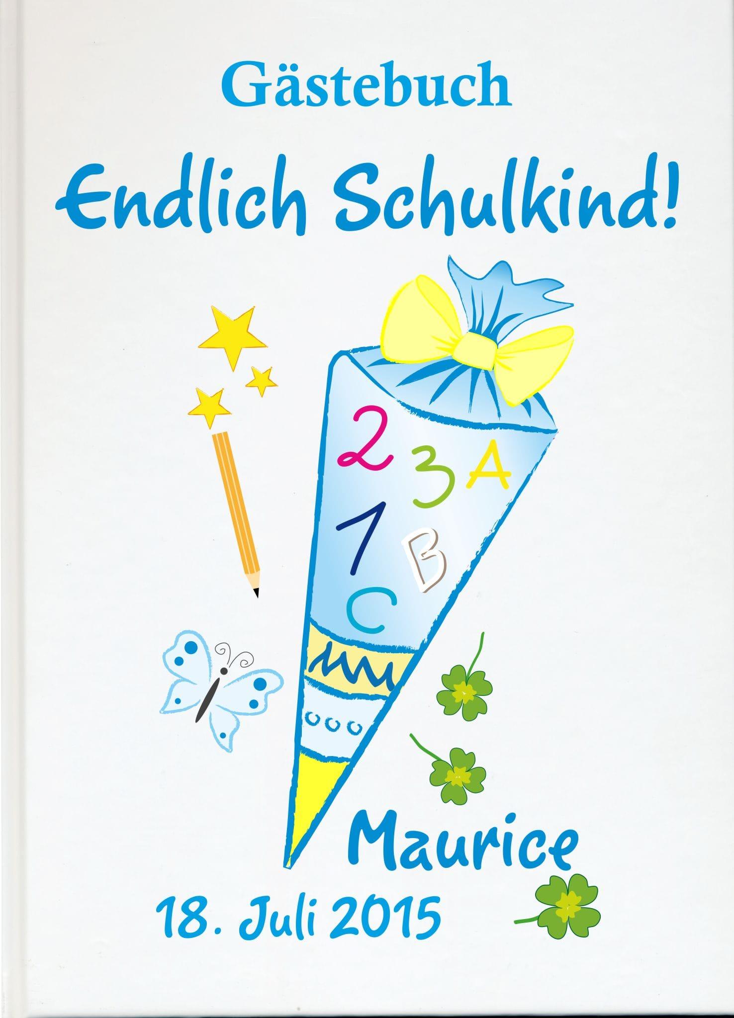Personalisiertes Gästebuch zur Einschulung Schultüte blau Schulanfang Geschenke