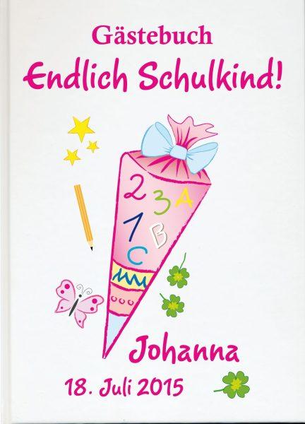 Personalisiertes Gästebuch zur Einschulung Schultüte rosa