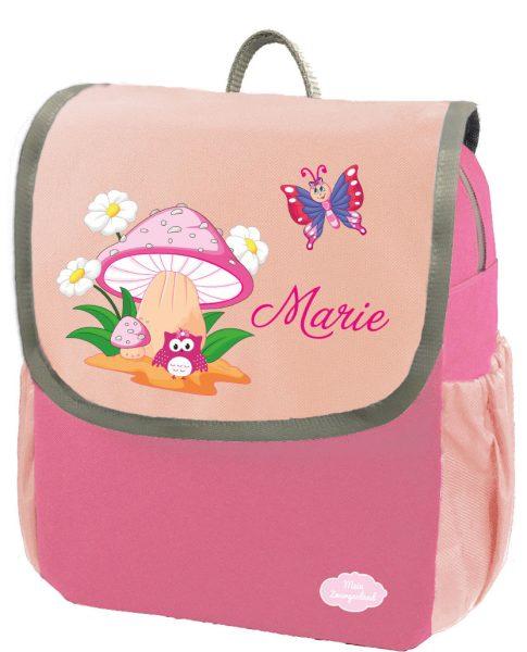 Kindergartenrucksack Happy Knirps NEXT mit Name Pink Eule mit Pilz