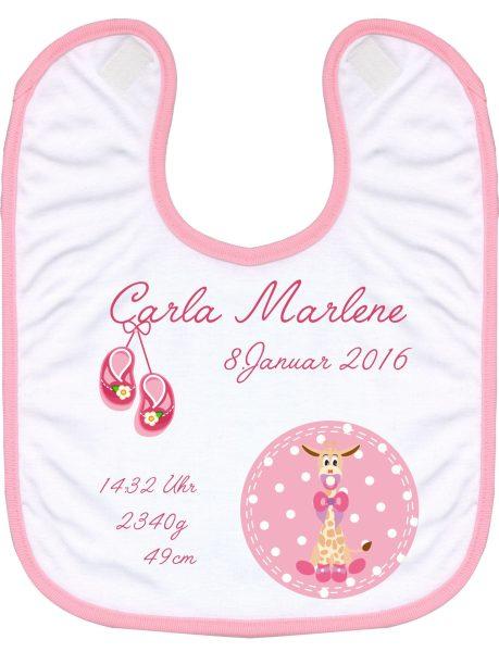 Babylatz rosa Giraffenbaby