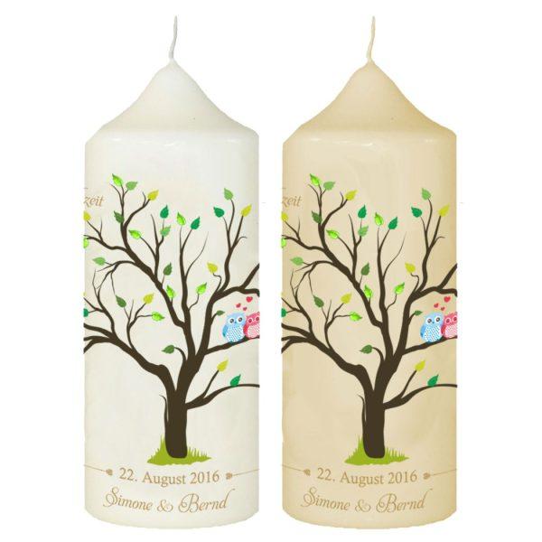 Hochzeitskerze Traukerze mit Namen und Datum Baum
