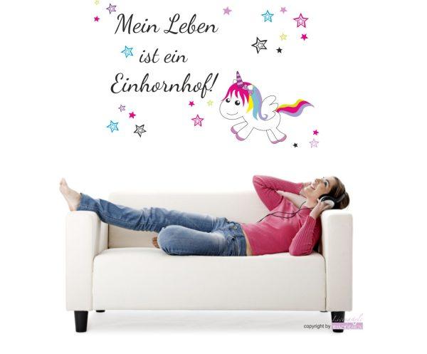 Wandtattoo Unicorn Einhorn Mein Leben ist ein Einhornhof!