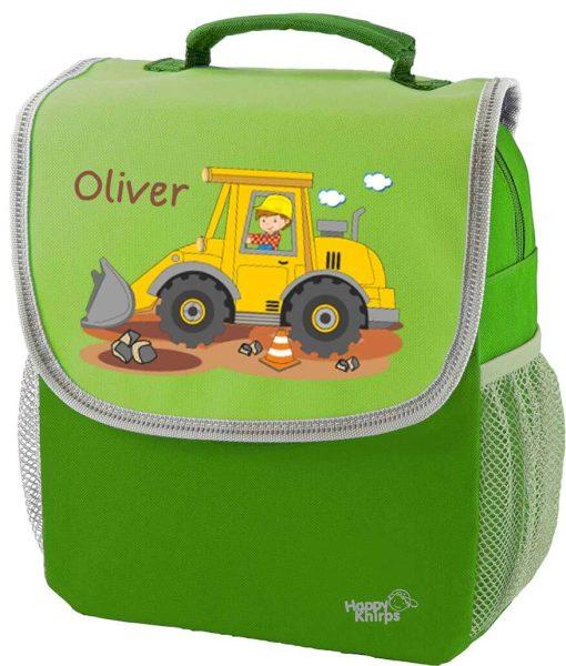 Kindergartenrucksack Happy Knirps NEXT mit Name Grün Bagger Baustelle