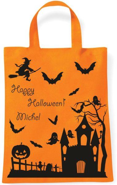Sammeltasche Stofftasche mit eigenen Namen mini orange Halloween Geisterschloss