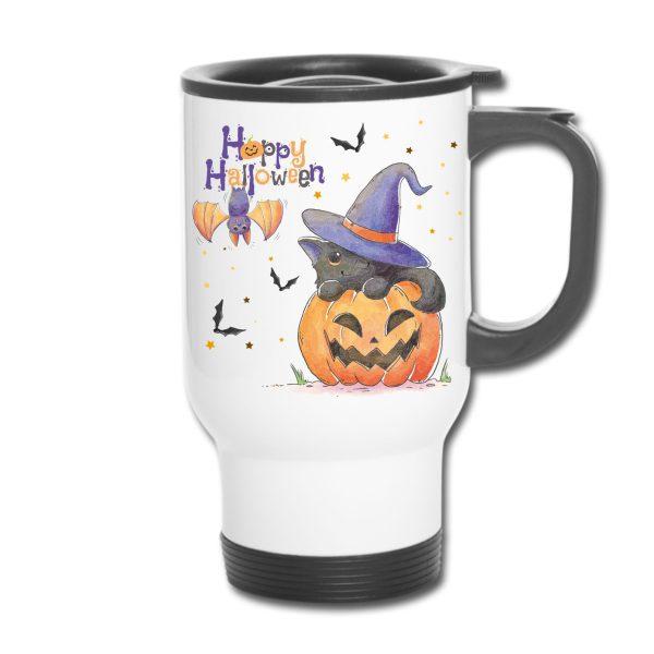Thermobecher - Happy Halloween Watercolor Katze Fledermaus Kürbis
