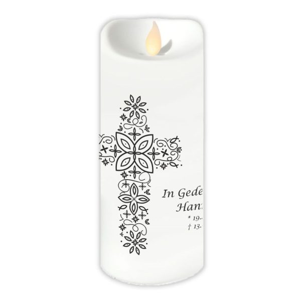 LED Kerze Twinkle Trauerkerze Kreuz aus Ornamenten