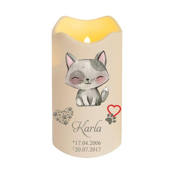 LED Kerze Trauerkerze aus Kunststoff für Tiere Katze sitzend