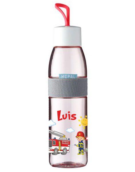Trinkflasche Ellipse für kohlensäurehaltige Getränke Nordic Red mit Name und Feuerwehr