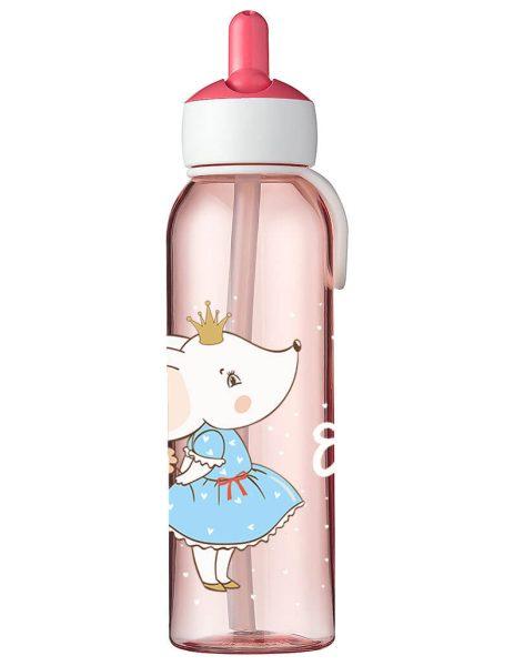 Wasserflasche Mepal Campus Flip-Up in Rose mit Name und Mäuseprinzessin