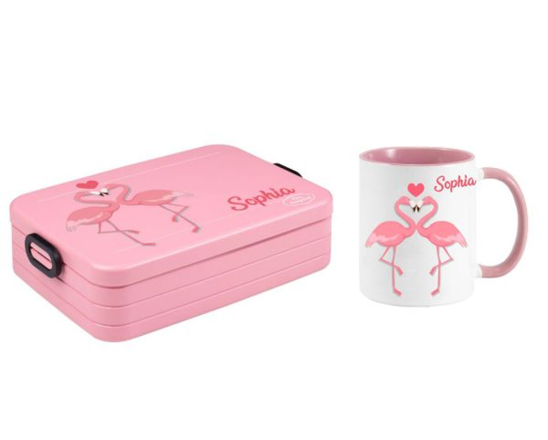 Bento Brotdose Take A Break Large - Tasse - weiß Flamingo