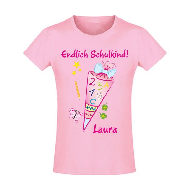 Schulanfang T-Shirt tailliert mit Name