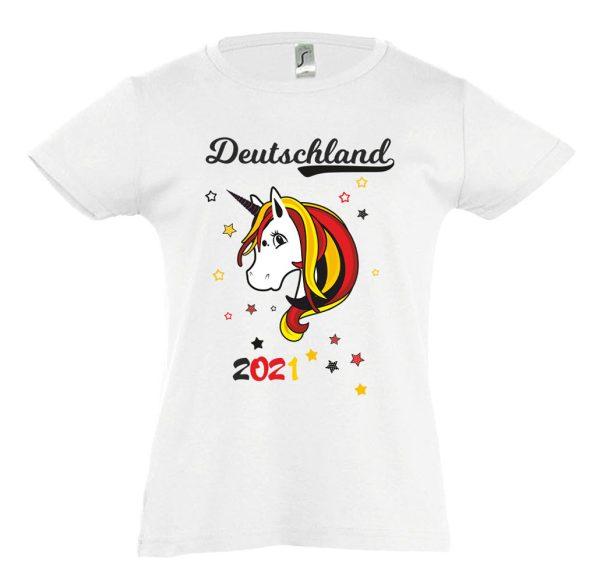 Kinder T-Shirt tailliert EM 2021 Motiv 13 Einhorn Beauty