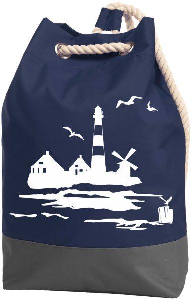 Rucksack Seesack Beutel mit Kordel Maritim Leuchtturm