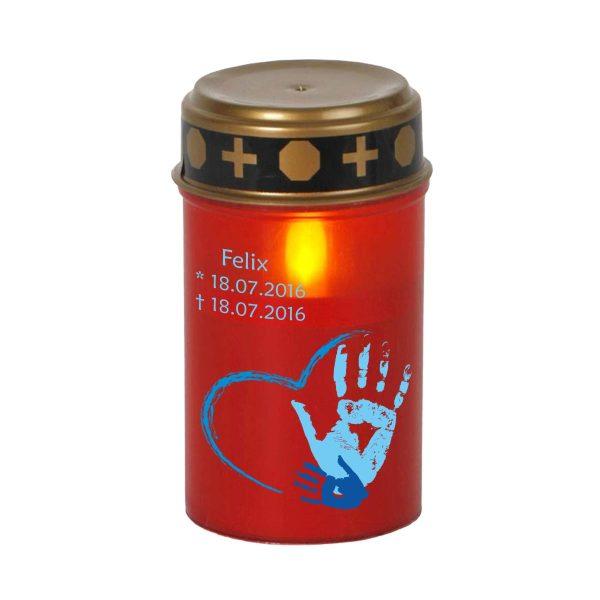 LED Grablicht Kerze Klein Sternenkind Handabdruck in blau