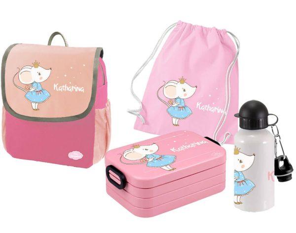Set 5 Rucksack Happy Knirps NEXT - Brotdose Maxi - Jutebeutel - Flasche Pink Mäuseprinzessin