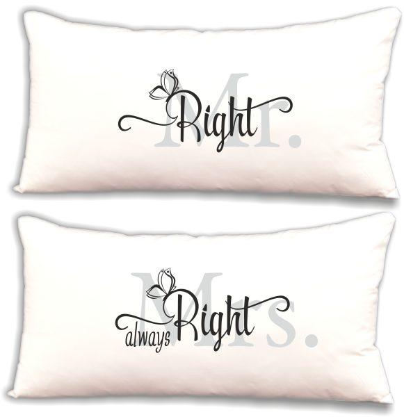 "Dekokissen Kissen Set ""Mr. Right & Mrs. always Right"""