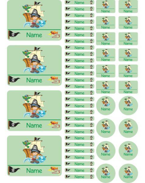 Namensaufkleber Heftaufkleber Stickerbogen Pirat