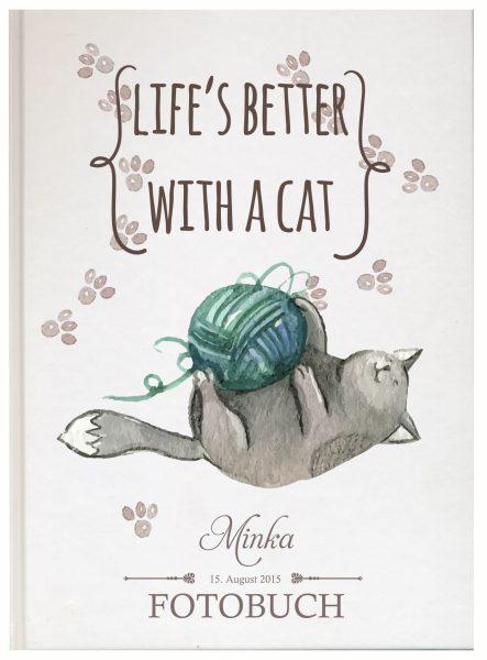 Fotoalbum für Tiere Katze mit Wollknäul