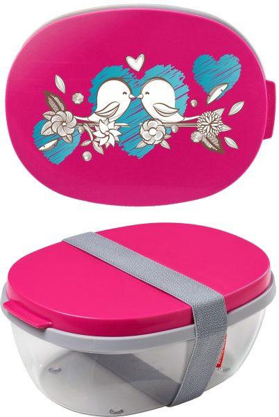 Salatbox Ellipse Pink Vögel