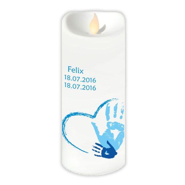 LED Kerze Twinkle Sternenkind Handabdruck in blau