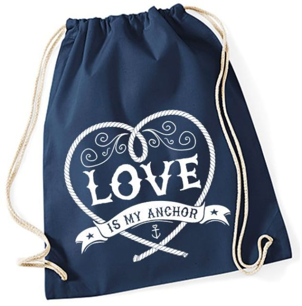 Jutebeutel Turnbeutel Sportbeutel navy Love is my Anchor