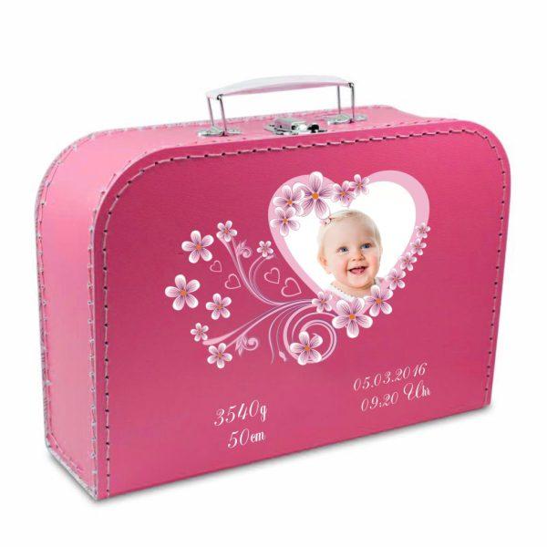 Geschenkkoffer mit Foto pink Herz