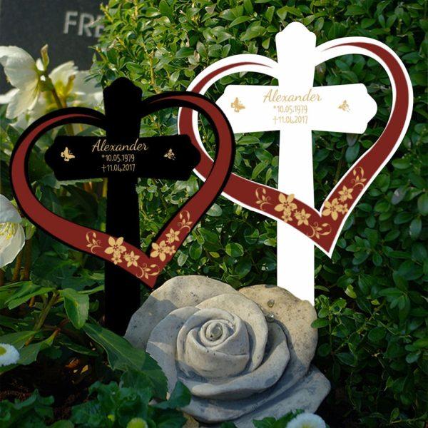 Grabkreuz mit Herz Blumenranke