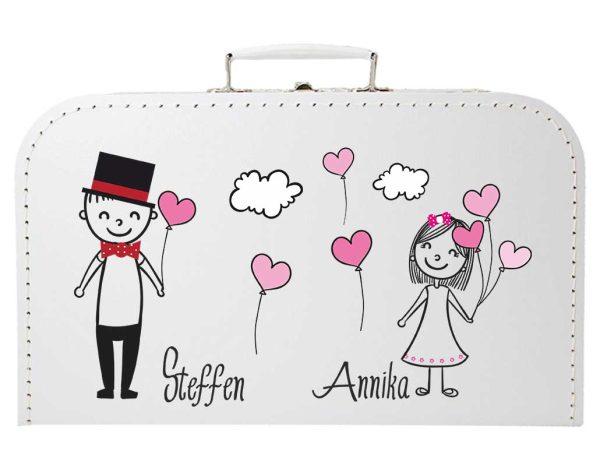 Koffer zur Hochzeit in weiss mit Pärchen Luftballons