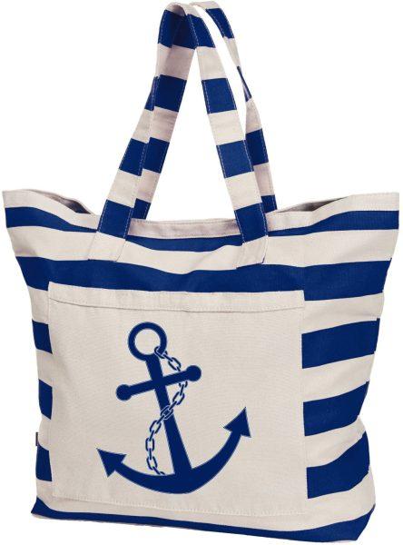 Streifen-Strandtasche Shopper maritim Anker