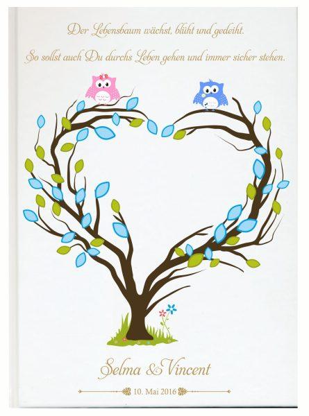 Personalisiertes Gästebuch für Taufe Zwillinge