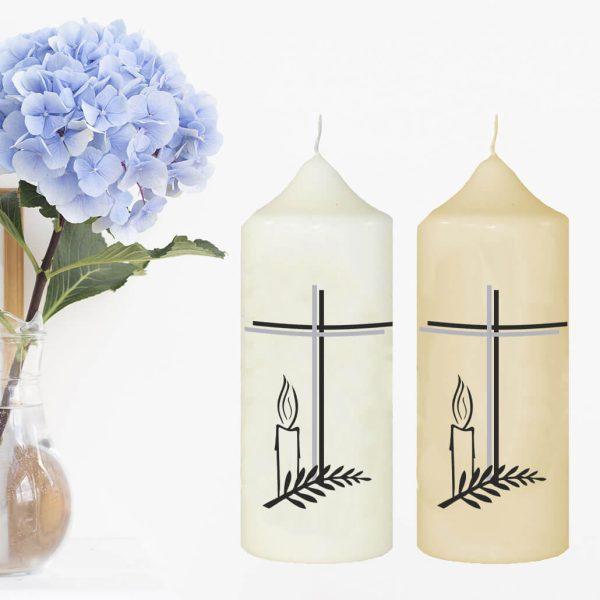 Wachskerze zum Gedenken Kreuz mit Kerze